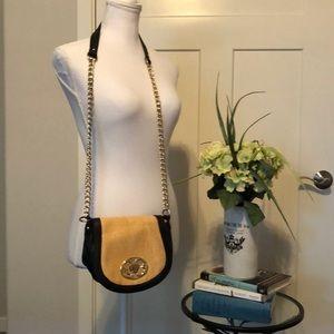 Emma Fox Straw and Black Leather Crossbody bag